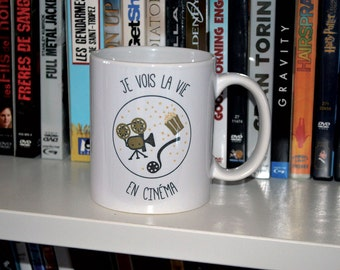"Cup/Mug ""I see life in cinema"" ideal gift for a cinephile friend"