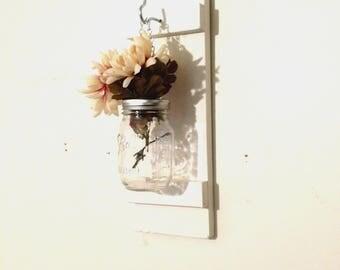 Hanging Mason Jar Wall Sconce Flower Vase Wall Mounted Rustic Decor White
