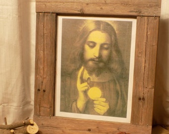 Reclaimed Wood Frame featuring Eucharistic Jesus
