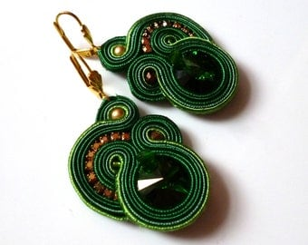 Boho Chic Soutache Earrings Green Swarovski Elegant Ethno Glamour Ohrringe Soutache Boucles d'oreilles soutache Orecchini Soutache