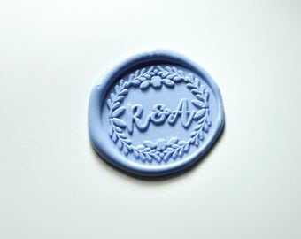 Custom 2 initials monogram with leaves around wax seal stamp-double initials wax seals- wedding invitation wax seals-wedding logo-A608