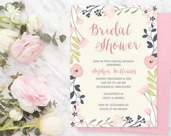 Spring Bridal Shower Invitation / Pink Bridal Shower Invitation / Floral Bridal Shower Invite / Watercolour Printable Invitation