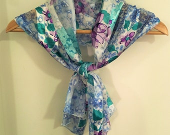 Sale! Vintage Japanese scarf in pale blue and white with soft purple floral pattern, made in Japan