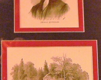 1890 Thomas Jefferson & Monticello Matted Antique Prints