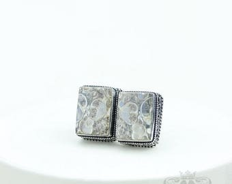 Rectangle Shaped TURRITELLA Fossil Vintage Filigree Antique 925 Fine S0LID Sterling Silver Men's / Unisex CUFFLINKS k752