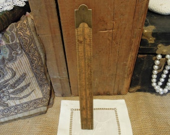 Vintage Lufkin Ruler 3851 / Antique Architect Rule / Folding Carpenter Ruler / Wood Folding Ruler / Antique Wood & Brass Ruler