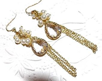 Vintage Crystal Earrings Pearl Earrings Vintage Jewelry VA-107