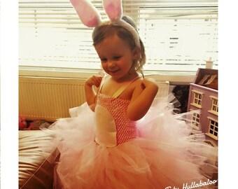 Easter Tutu Dress - Bunny Dress - Pink Rabbit Dress - Pink Easter Tutu - Fluffy Tutu Dress - Bunny ears - Knee length