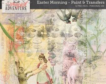 Rub On, Transfers, Happy Easter, Egg Hunt, Instant Download, Digital Scrapbooking Embellishments, For Spring, Vintage Easter Ephemera,