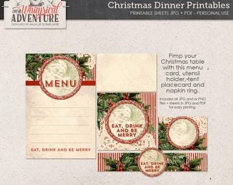 Christmas digital download, dinner printables, party decorations, menu, placecard, napkin ring, utensil holder, vintage Christmas party