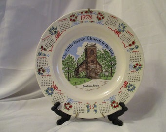 Vintage Little Brown Church in the Vale Nashua Iowa 1978 Calendar collectors plate 10 1/4 inches