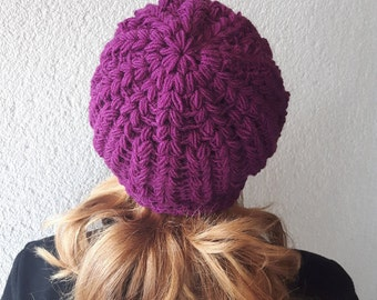 Winter wool beanie, Beanie hat purple, Crochet hat beanie, Beanie with flower, Winter accessory beanie, Crochet hat for her