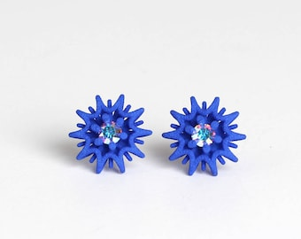 Star Stud Earrings blue with Crystal, blue stud earrings, blue gift idea, geometrical stud, statement studs, royal blue jewelry