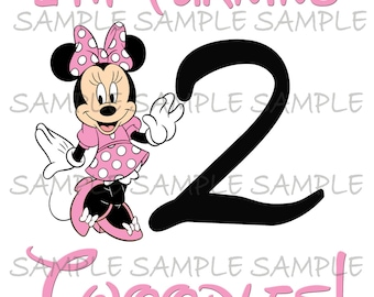 I'm Turning Twoodles IMAGE Use as Printable Iron on or Clip art Birthday Girl Pink Minnie Mouse T-shirt Transfer Instant Download