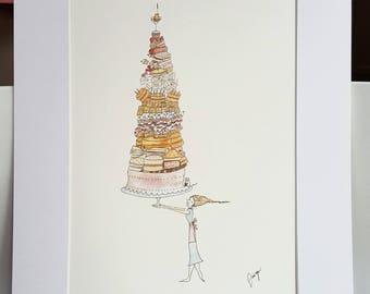 A4 mounted watercolour illustration, cakes print, baking print, girls bedroom print, kids decor print, kitchen illustration, cakes theme