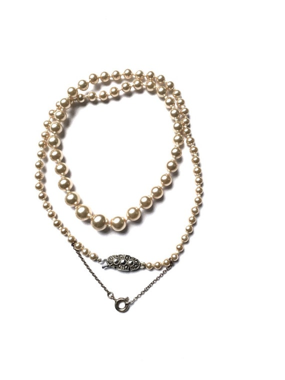 Vintage Pearl Necklace Knotted Faux Pearls Single Strand