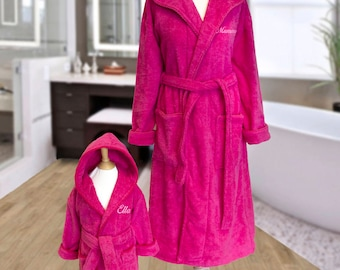 Personalised MOTHER and DAUGHTER Matching Hooded Towelling Dressing Gowns Bathrobes Hot PINK, Chest Embroidery