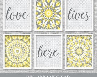 Printable Art, Love Lives Here, Printable Art Set, Bedroom Wall Art, Yellow and Gray Art, Bedroom Wall Decor, Love Wall Art, Set of 6 Prints