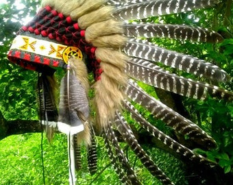 Turkey Feather Native American Headdress replica, Indian Headdress Style, Indian Costume, Warbonnet, Plumes, Burning Man, Rave