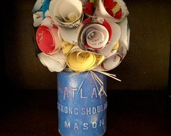 Dr. Seus Paper Flower Bouquet-Hand Painted Mason Jar!