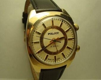 Poljot Signal 18 jewels AU Gold Plated men wrist watch Alarm watch USSR RARE Serviced Gift idea