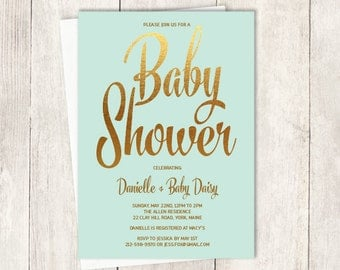 Gold Baby Shower Invitation DIY // Metallic Gold Sparkle, Faux Gold Foil and Mint Green // Printable PDF ▷Unisex Baby Shower Invite