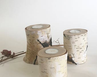 3 Birch Tea Light Holders, Reclaimed Tea Light Hoders, Rustic Wedding Decor, Rustic Aspen Candle holder, Bridal Shower/House Warming Gifts