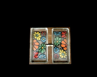 Vintage Mid Century Modern Walnut Wood and Enameled Floral Design om Copper Hors D'oeuvre Tray with Brass Handle  Ernest Sohn Design 1970s