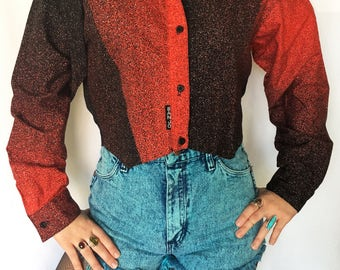 Vintage 1980s Red & Black Cropped Long Sleeve Button-up / Size (M/L)