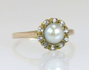 Antique Estate Vintage 10k Yellow Gold .10ct Genuine Rose Cut Diamond & Pearl Victorian Ring