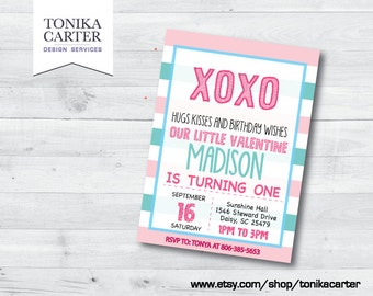 Valentine XO Birthday Party Invitation (pink and turquoise)