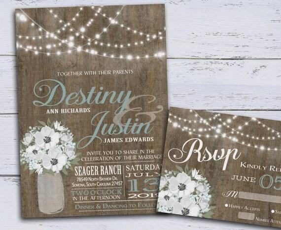 DIY Rustic Wedding Invitation Printable, Country Wedding Invitations ...