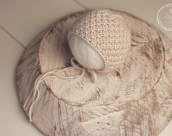 newborn bonnet, knit newborn bonnet, newborn knitted bonnet, cream bonnet, newborn props, newborn photo prop, organic newborn prop