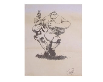 The Rugby Giant / Vintage Style Sports Cartoon by Me / Wall Art / A4