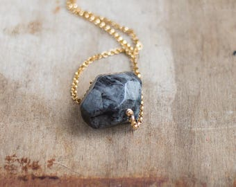 Black Rutilated Quartz Nugget Necklace, Raw Crystal Jewelry, Rutile Quartz Stone Necklace, Black White Crystal Necklace