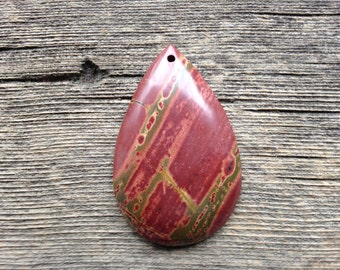 Picasso Jasper Pendant Bead - Teardrop - Red, Green and Yellow