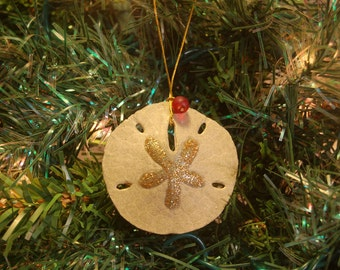 Coastal Christmas Ornaments–Sand Dollar Ornament–Coastal Ornament – Beach Christmas -Beach Ornament–Sea Shell Ornament–Beach Themed Ornament