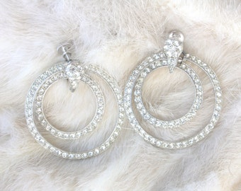 Bogoff Crystal Rhinestone Hoop Dangle Earrings, Wedding Earrings