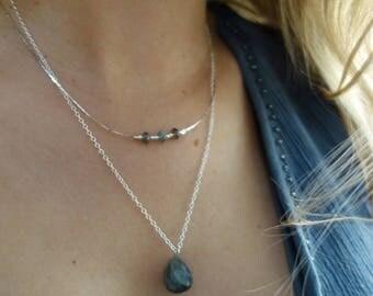 Necklace double chain Silver 925, labradorite stone