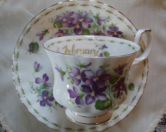 """Royal Albert - Flower of the Month Series - February - """"Violets"""" - Bone China England - Vintage Tea Cup and Saucer"""