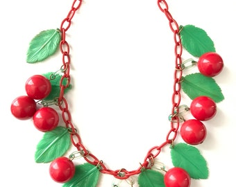 Vintage Celluloid RED CHERRIES Fruit Charm Necklace