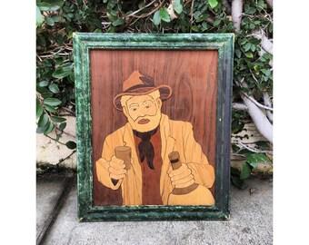 Vintage Man Drinking Wood Cut Vintage Wood Cut Vintage Unique Art Vintage Art Vintage Woodcut Art Vintage Barware Vintage Portrait