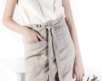 Linen apron / Kitchen apron / Half Apron / Garson apron / unisex apron / Linen midi apron / linen half apron / tea linen apron