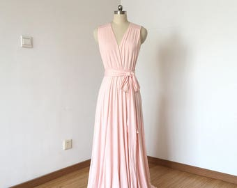 V-neck Blush Pink Spandex Long Convertible Bridesmaid Dress