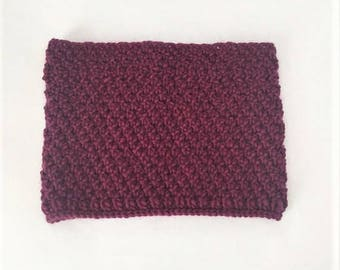 Wool Cowl Hand Knit, Hand Knitted Scarf - Plum (Adult)