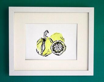 "Yuzu lemon linocut art print - original block print - yellow citrus fruit art decor - 5""x7"""