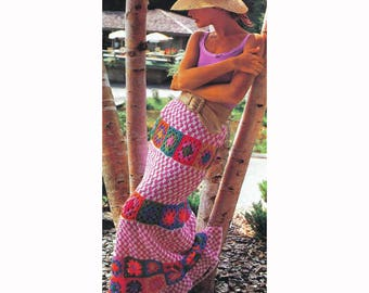 "Vintage Crochet Pattern for Boho Granny Square Maxi Skirt Waist 22 to 29"" PDF Download SKU 31-2"