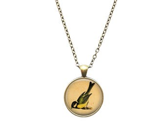 Tit necklace Animal jewelry Bird pendant
