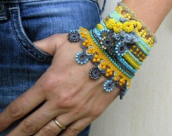 Handmade Crochet Bracelet Cuff in Yellow Gray Blue with Japanese beads, Freeform Crochet Jewelry Unique Gift for Her