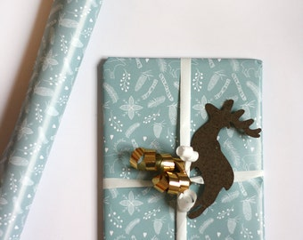 Wrapping paper forest - christmas paper - reindeer paper - gift wrapping